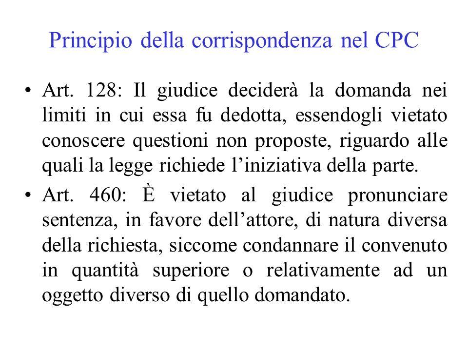 Principio della corrispondenza nel CPC