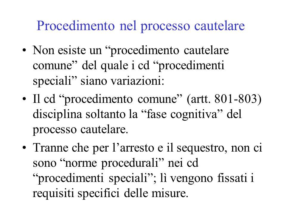 Procedimento nel processo cautelare