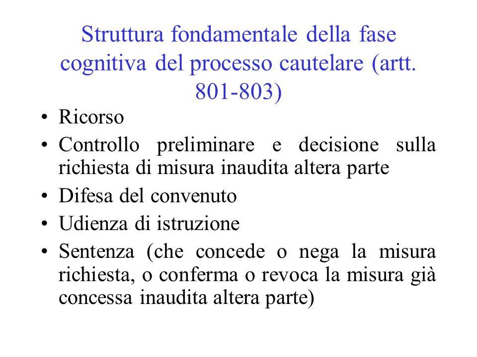 Struttura fondamentale della fase cognitiva del processo cautelare (artt. 801-803)