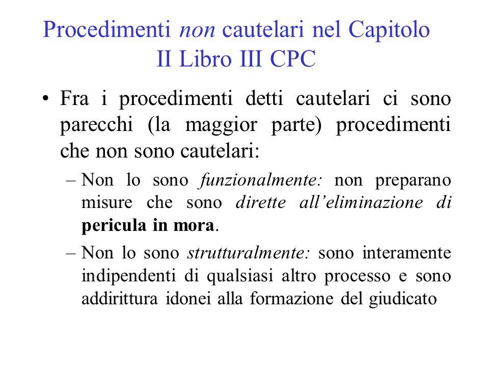 Procedimenti non cautelari nel Capitolo II Libro III CPC