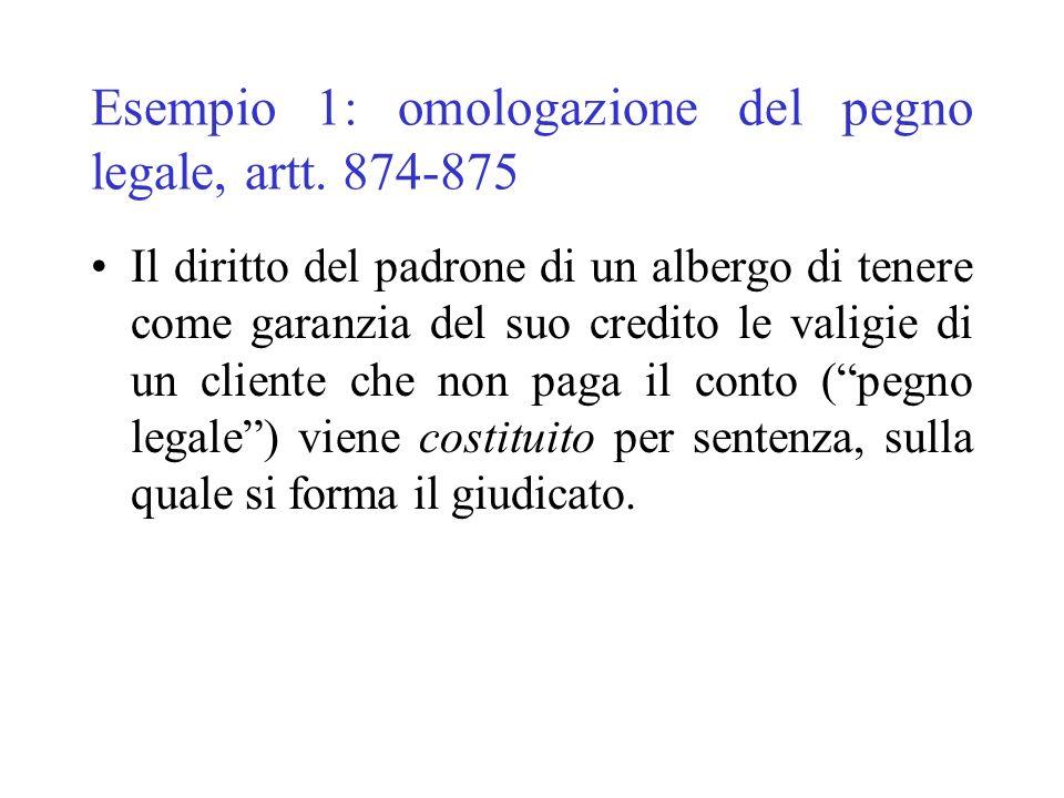 Esempio 1: omologazione del pegno legale, artt. 874-875