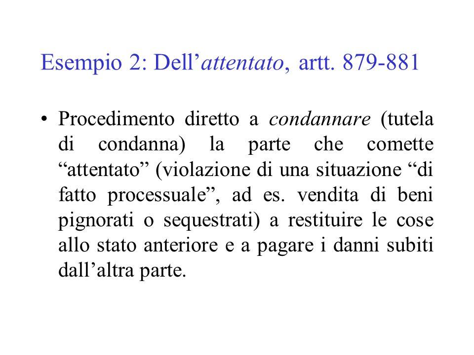 Esempio 2: Dell'attentato, artt. 879-881