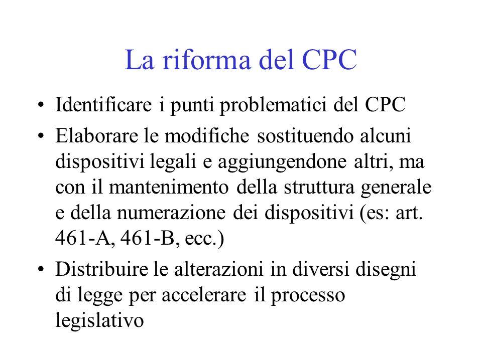 La riforma del CPC Identificare i punti problematici del CPC