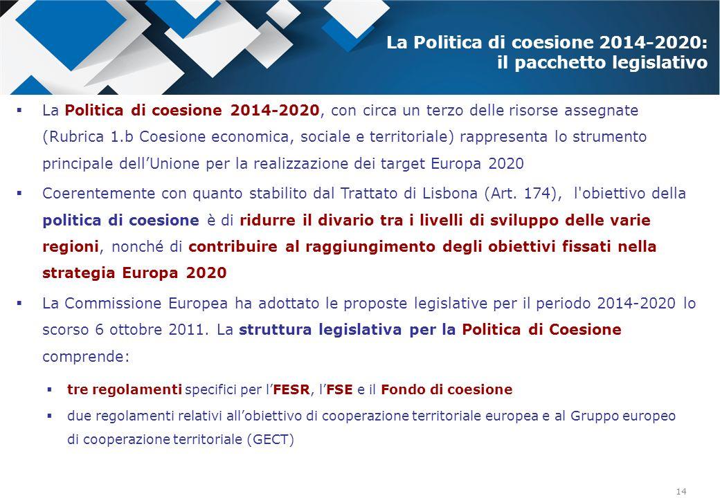 La Politica di coesione 2014-2020: il pacchetto legislativo