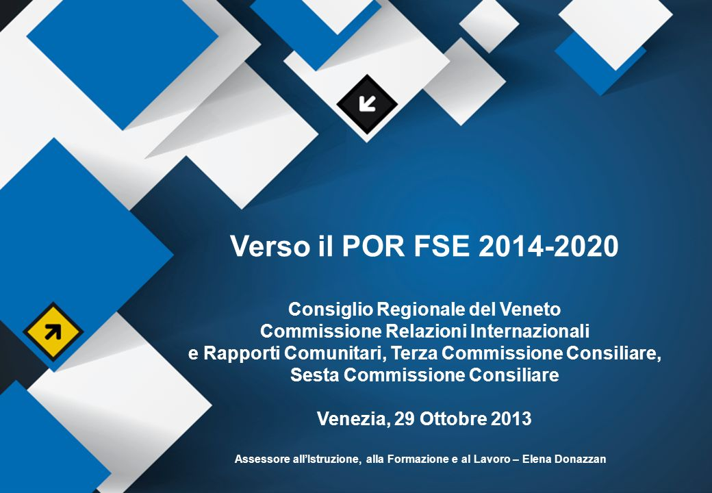 Verso il POR FSE 2014-2020 Consiglio Regionale del Veneto