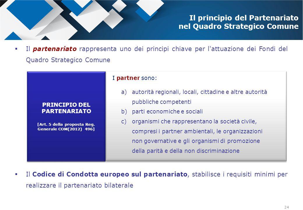 Il principio del Partenariato nel Quadro Strategico Comune
