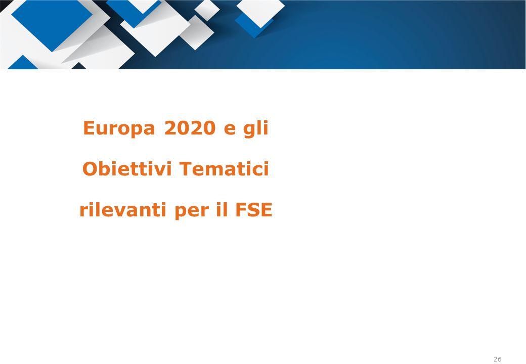 Europa 2020 e gli Obiettivi Tematici rilevanti per il FSE