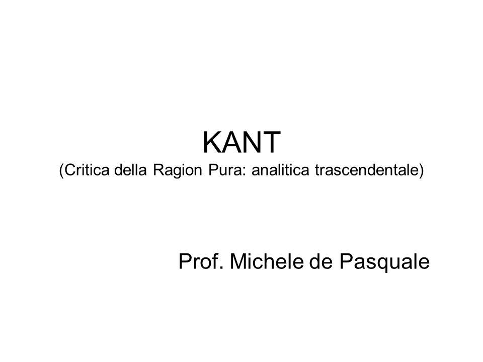 KANT (Critica della Ragion Pura: analitica trascendentale)