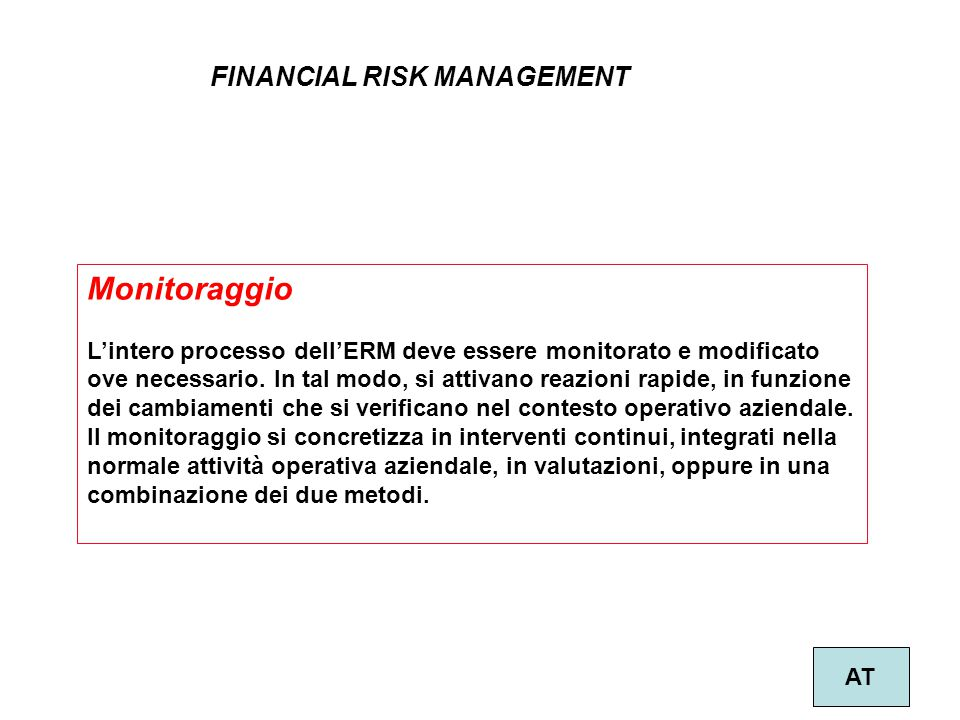 Monitoraggio FINANCIAL RISK MANAGEMENT