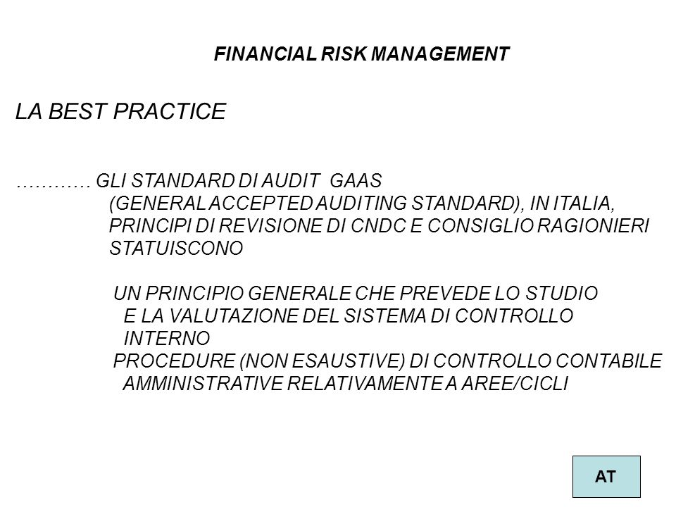 LA BEST PRACTICE FINANCIAL RISK MANAGEMENT