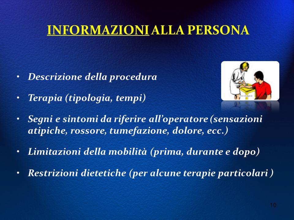 INFORMAZIONI ALLA PERSONA