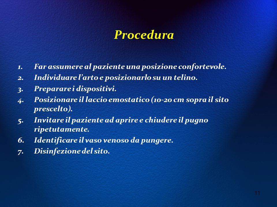 Procedura Far assumere al paziente una posizione confortevole.