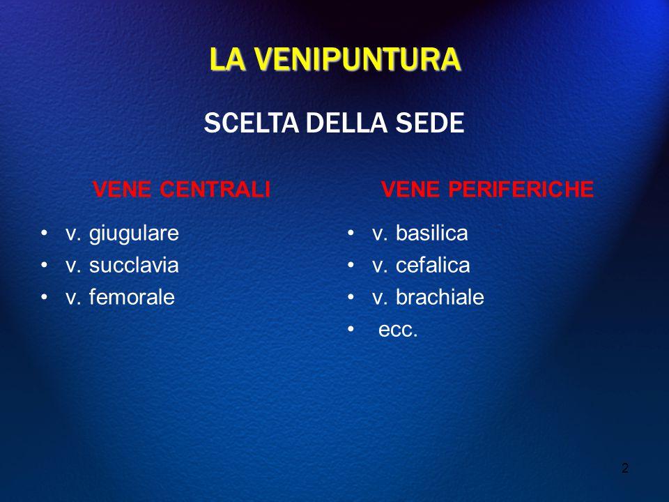 LA VENIPUNTURA SCELTA DELLA SEDE VENE CENTRALI v. giugulare