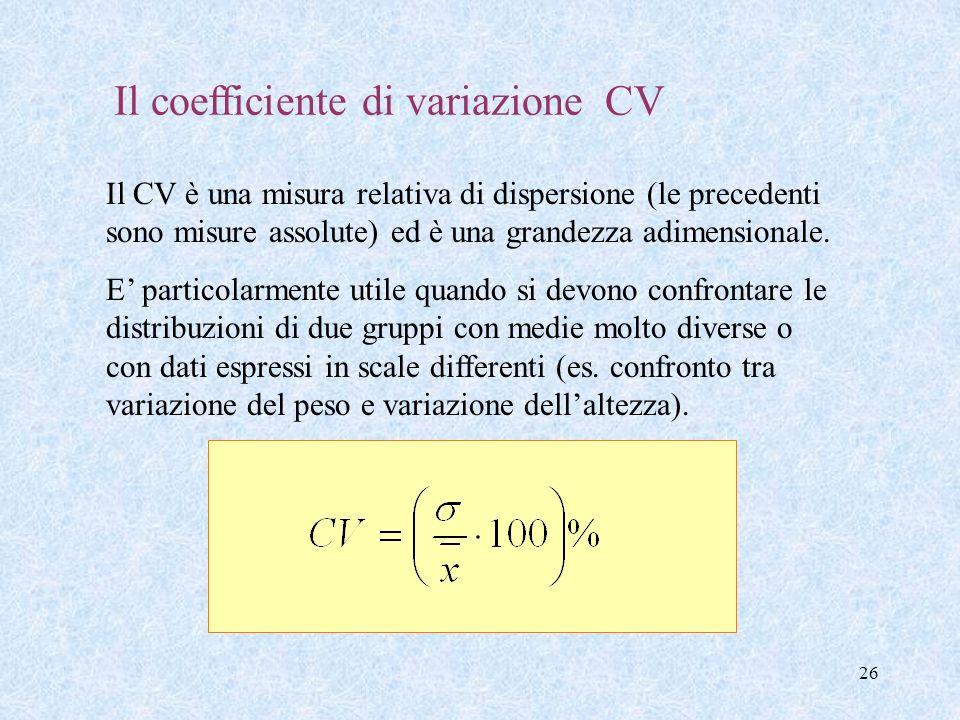 Il coefficiente di variazione CV