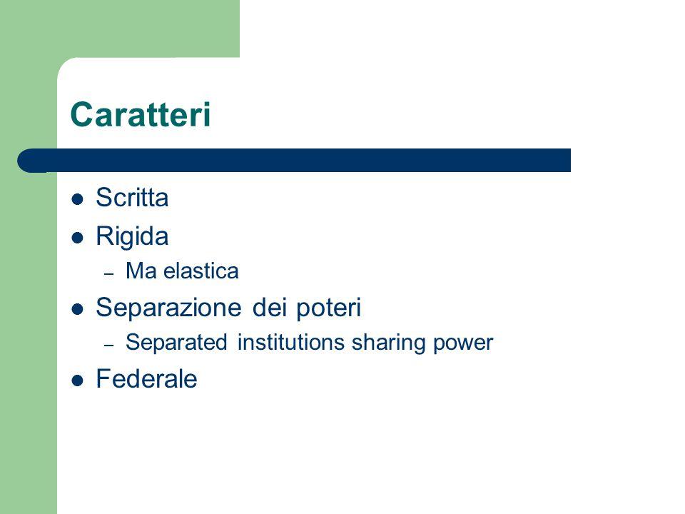 Caratteri Scritta Rigida Separazione dei poteri Federale Ma elastica
