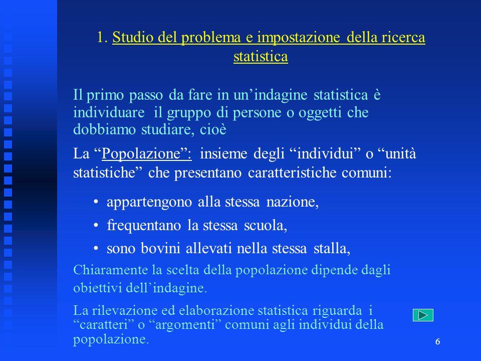 1. Studio del problema e impostazione della ricerca statistica