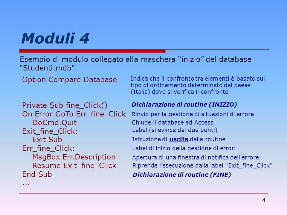 Moduli 4Esempio di modulo collegato alla maschera inizio del database. Studenti.mdb Option Compare Database.