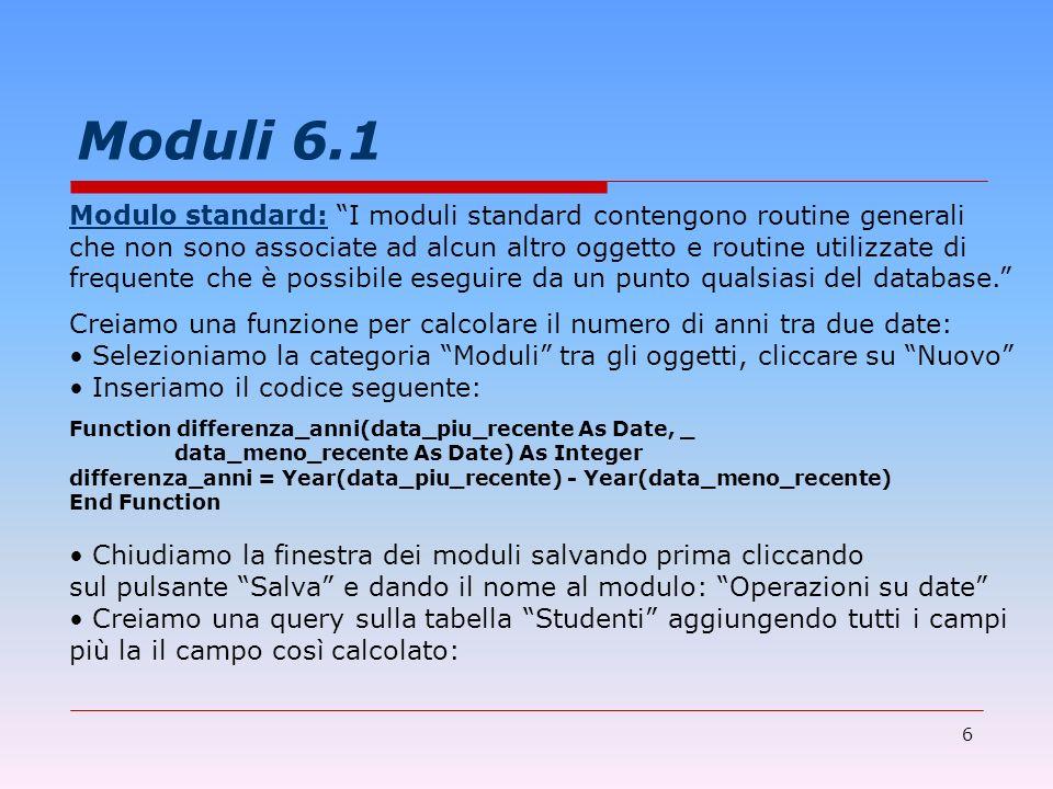 Moduli 6.1