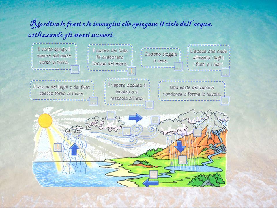 Riordina le frasi e le immagini che spiegano il ciclo dell'acqua, utilizzando gli stessi numeri.