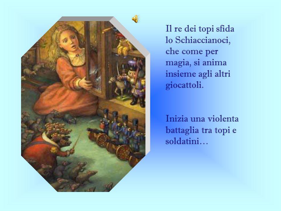 Il re dei topi sfida lo Schiaccianoci, che come per magia, si anima insieme agli altri giocattoli.