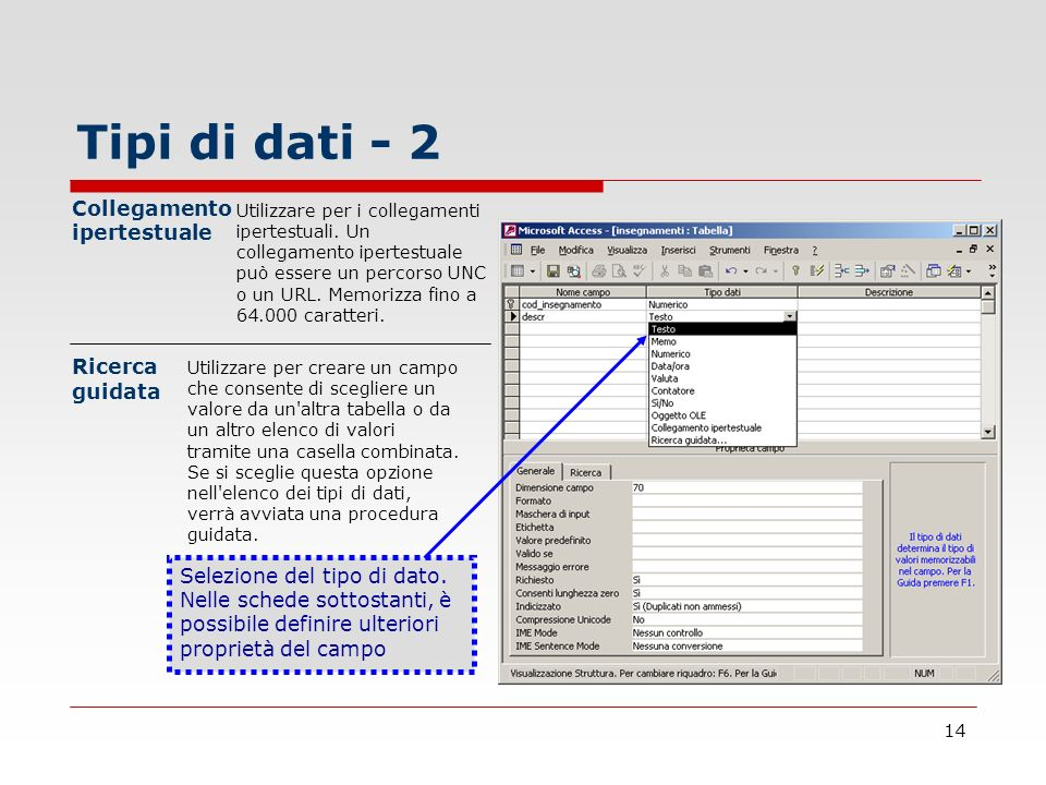 Tipi di dati - 2 Collegamento ipertestuale Ricerca guidata