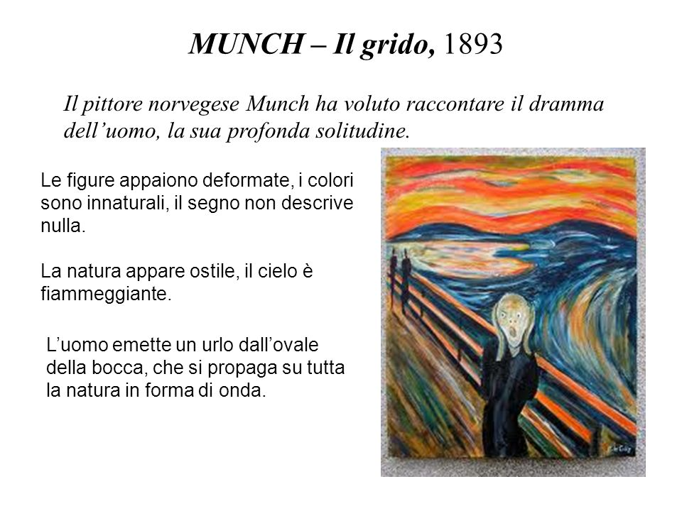 MUNCH – Il grido, 1893 Il pittore norvegese Munch ha voluto raccontare il dramma dell'uomo, la sua profonda solitudine.