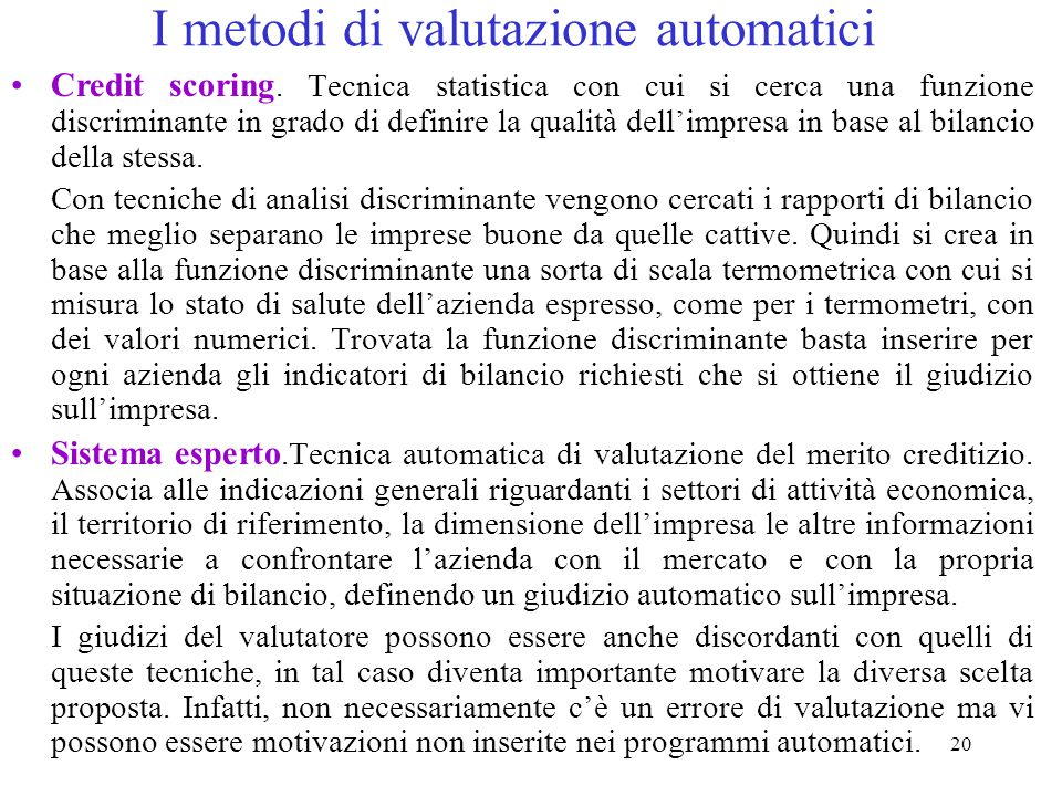 I metodi di valutazione automatici