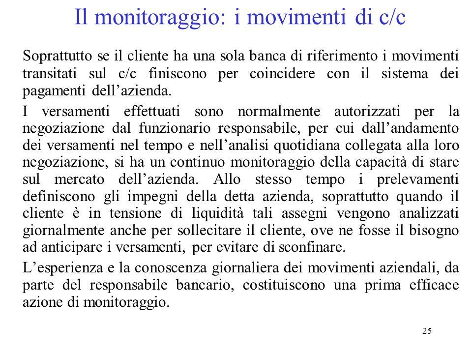 Il monitoraggio: i movimenti di c/c
