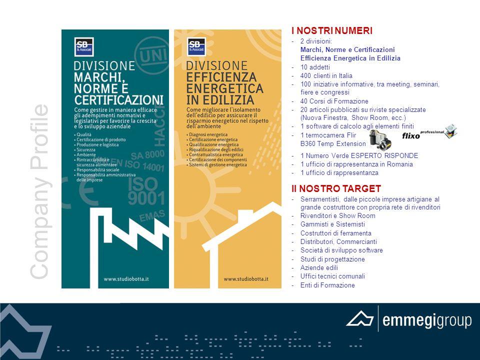 Company Profile I NOSTRI NUMERI Il NOSTRO TARGET 6 2 divisioni: