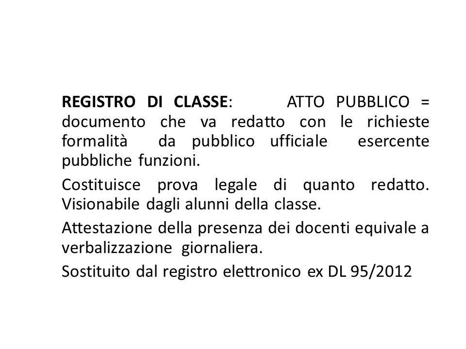 REGISTRO DI CLASSE: ATTO PUBBLICO = documento che va redatto con le richieste formalità da pubblico ufficiale esercente pubbliche funzioni.