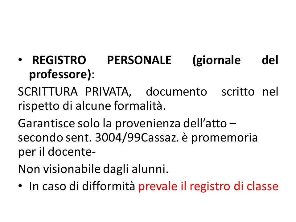 REGISTRO PERSONALE (giornale del professore):