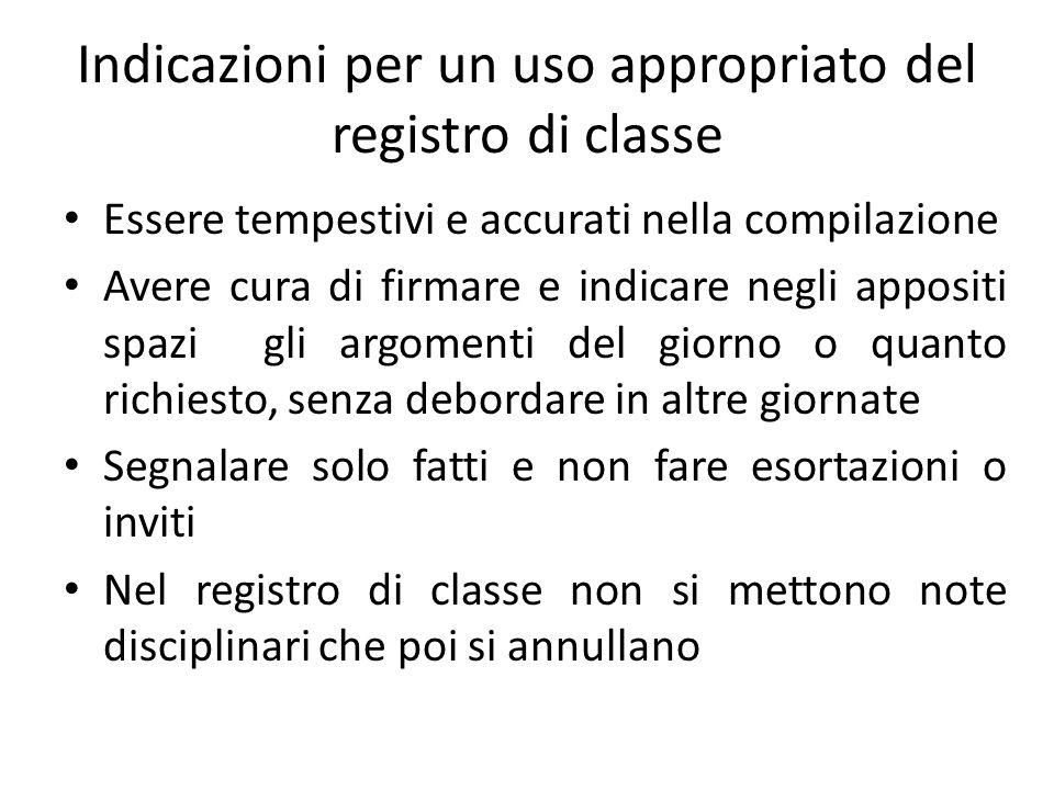 Indicazioni per un uso appropriato del registro di classe