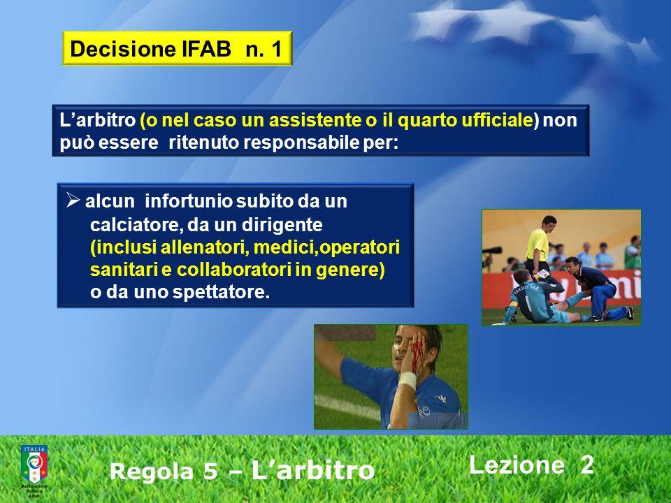 Lezione 2 Decisione IFAB n. 1 alcun infortunio subito da un