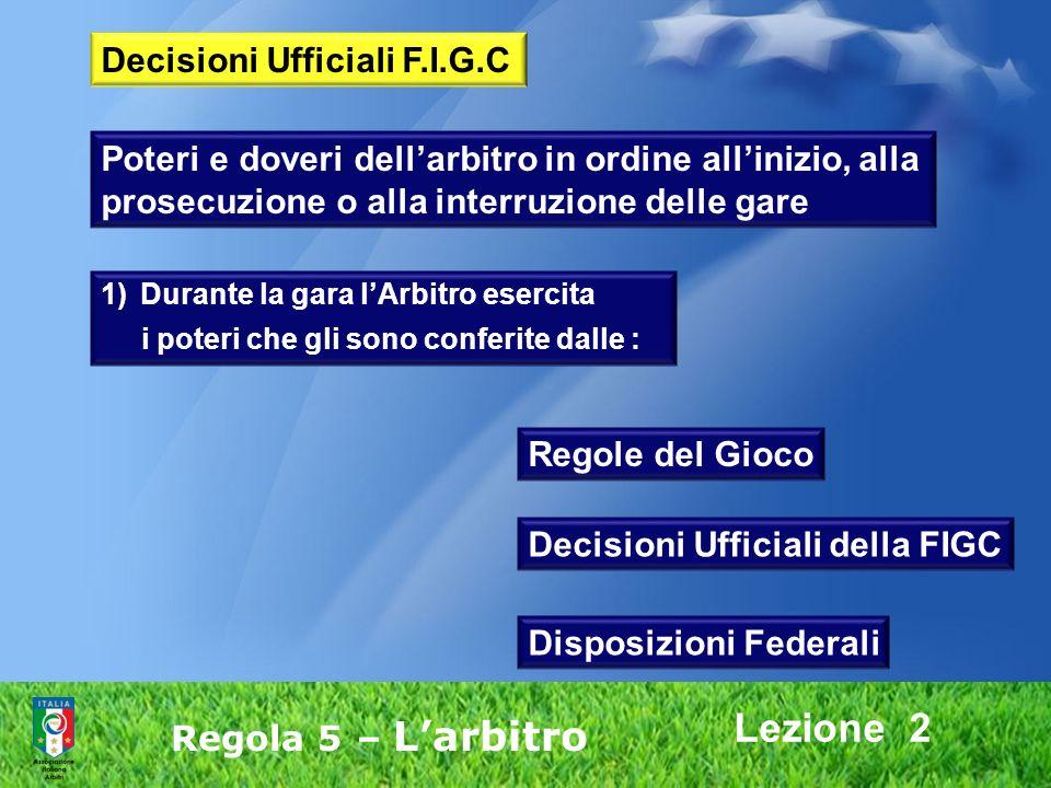 Lezione 2 Decisioni Ufficiali F.I.G.C