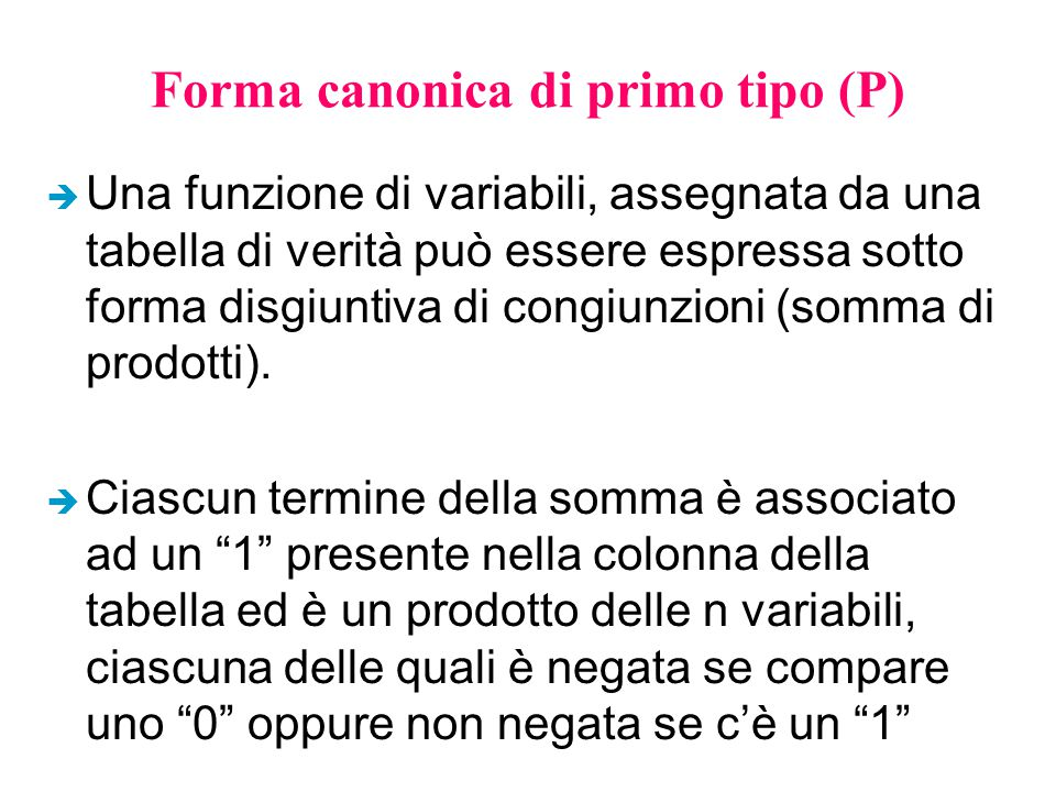 Forma canonica di primo tipo (P)
