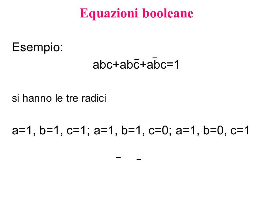 Equazioni booleane Esempio: abc+abc+abc=1