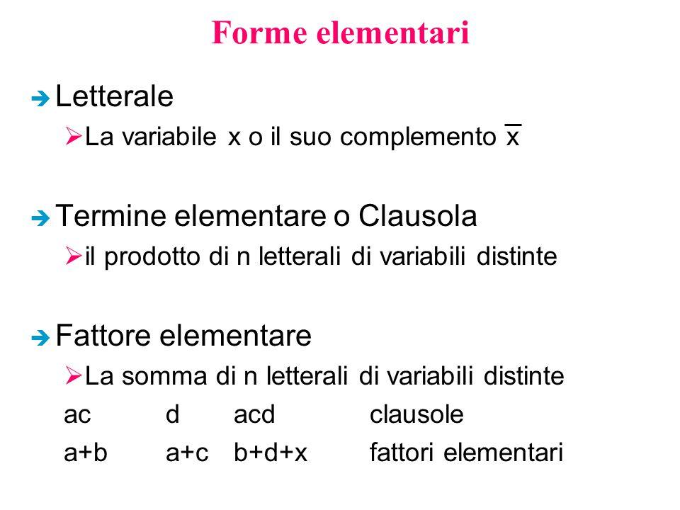 Forme elementari Letterale Termine elementare o Clausola
