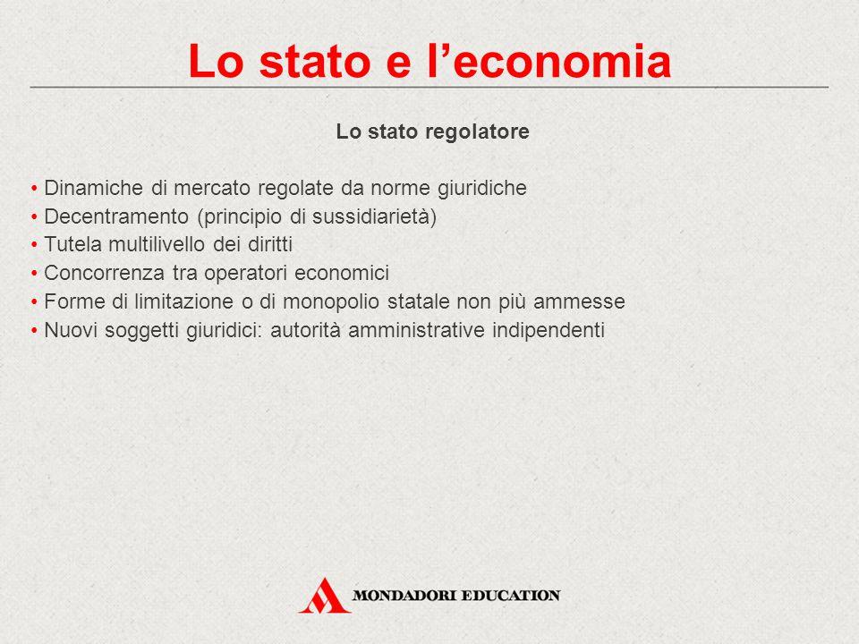 Lo stato e l'economia Lo stato regolatore