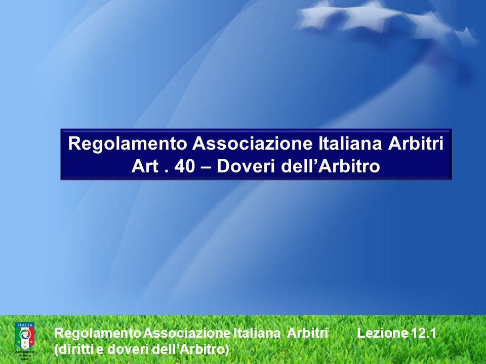 Regolamento Associazione Italiana Arbitri