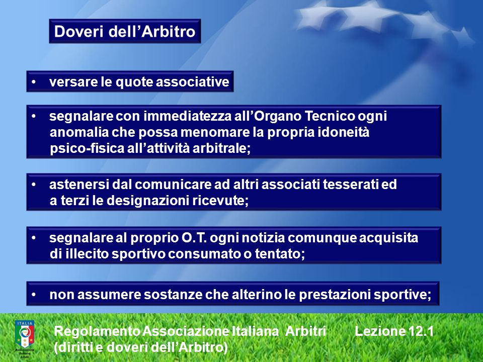 Doveri dell'Arbitro versare le quote associative