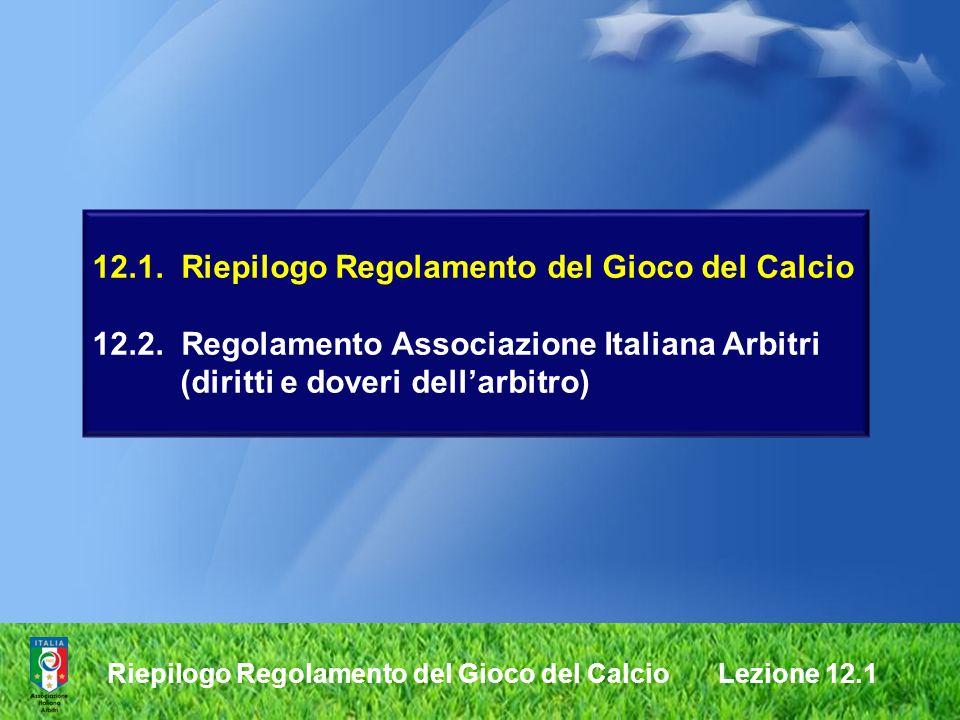 12. 1. Riepilogo Regolamento del Gioco del Calcio 12. 2