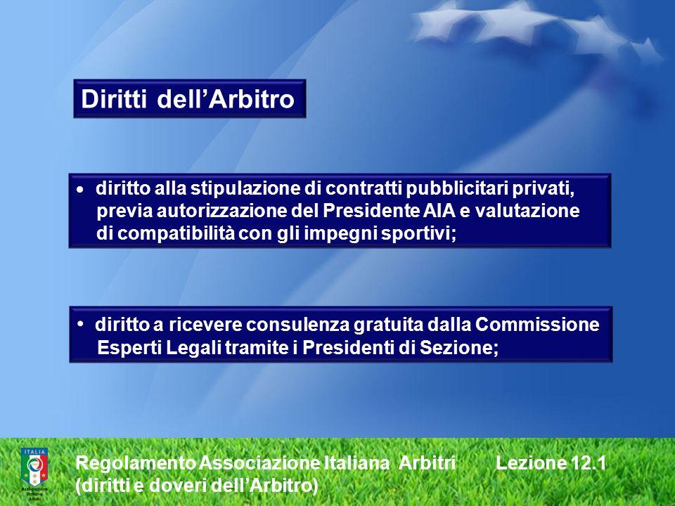 Diritti dell'Arbitrodiritto alla stipulazione di contratti pubblicitari privati, previa autorizzazione del Presidente AIA e valutazione.