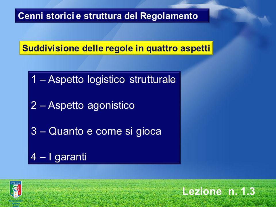 1 – Aspetto logistico strutturale 2 – Aspetto agonistico