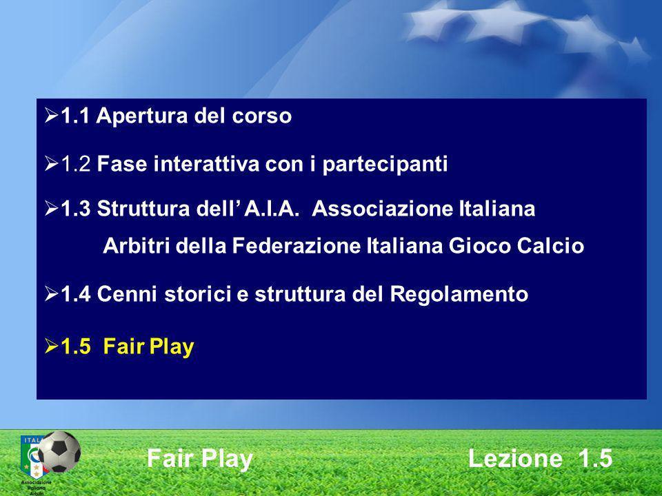 Fair Play Lezione 1.5 1.1 Apertura del corso