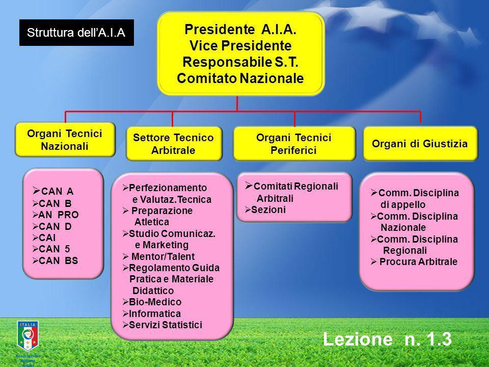 Lezione n. 1.3 Presidente A.I.A. Vice Presidente Responsabile S.T.