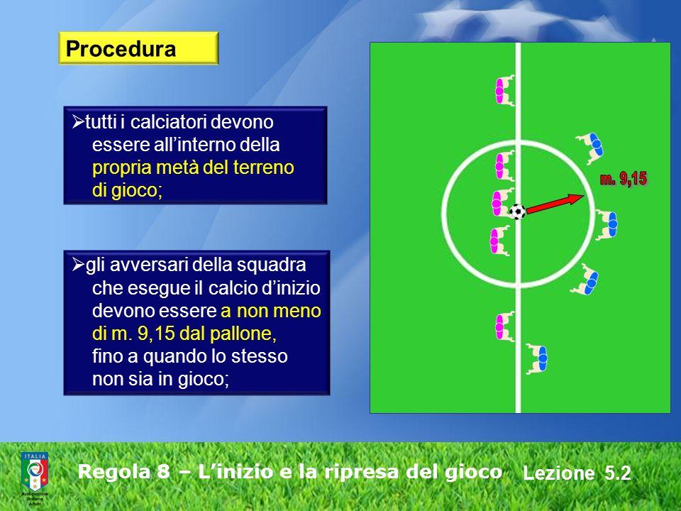 Regola 8 – L'inizio e la ripresa del gioco