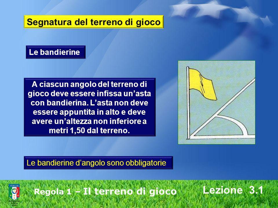 Lezione 3.1 Segnatura del terreno di gioco Le bandierine