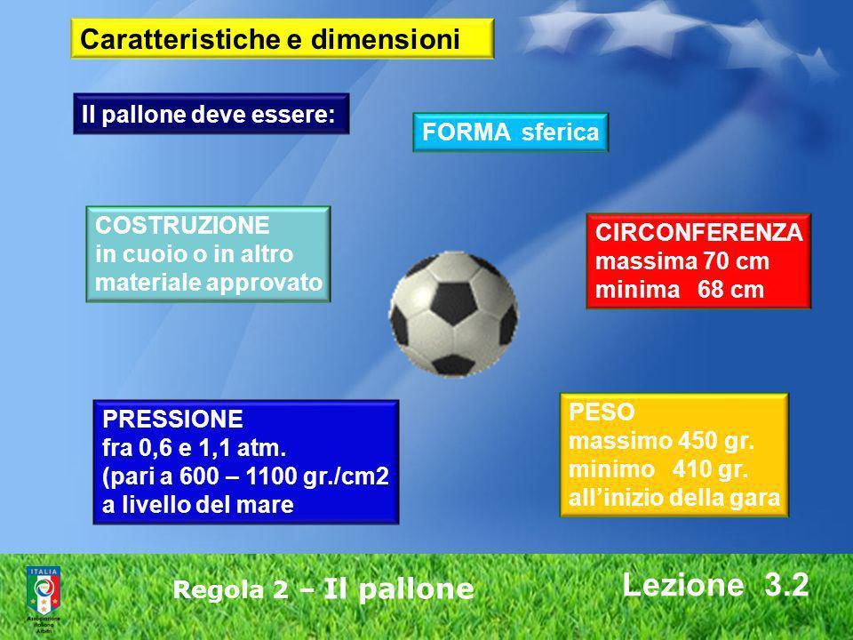 Lezione 3.2 Caratteristiche e dimensioni Il pallone deve essere: