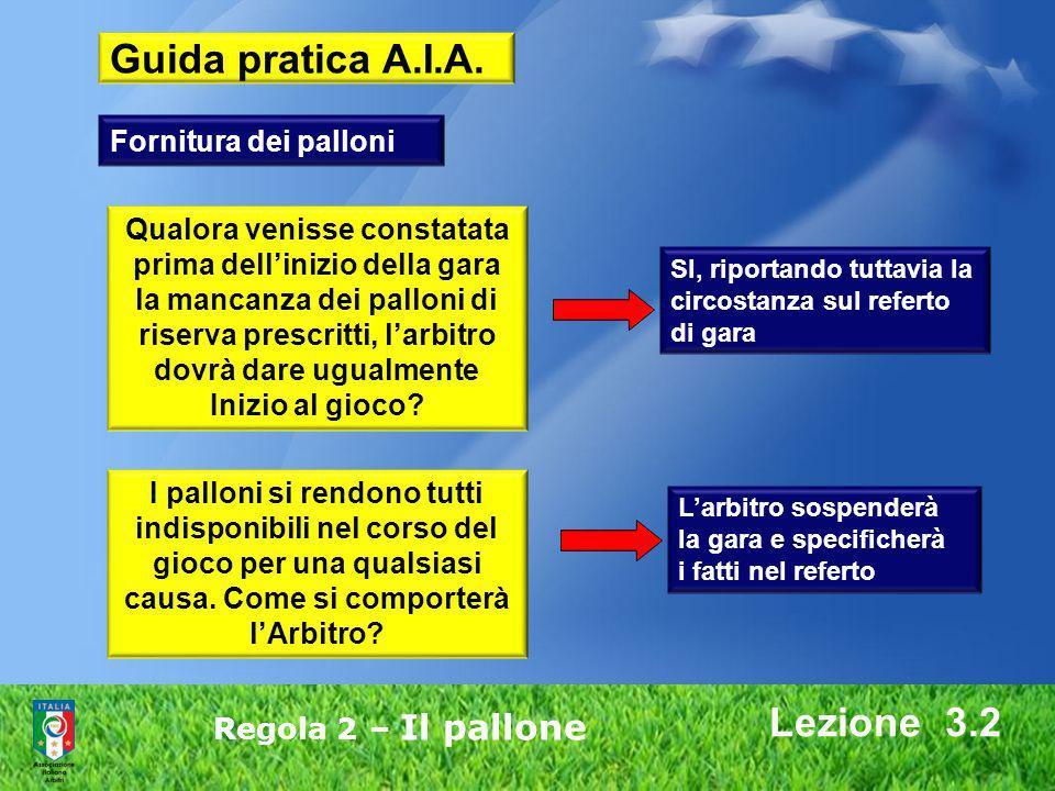Guida pratica A.I.A. Lezione 3.2 Fornitura dei palloni