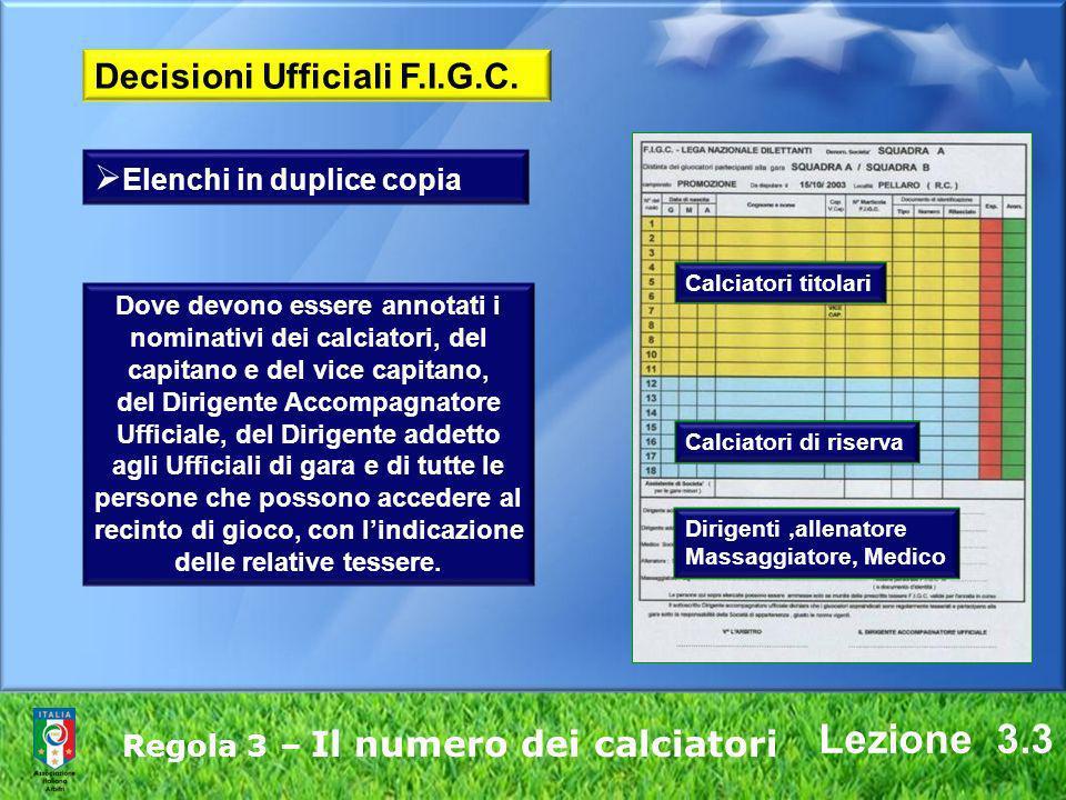 Lezione 3.3 Decisioni Ufficiali F.I.G.C. Elenchi in duplice copia